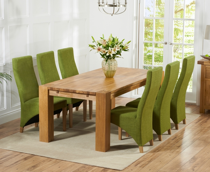 Mark Harris Madrid Solid Oak 200cm Dining Table with 6 Harley Lime Chairs