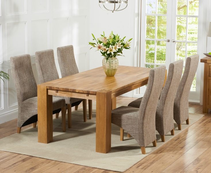 Mark Harris Madrid Solid Oak 200cm Dining Set with 6 Harley Tweed Dining Chairs