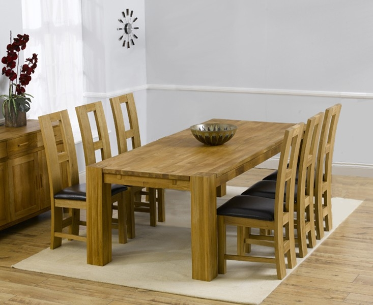 Mark Harris Madrid Solid Oak 200cm Dining Set with 6 John Louis Black Dining Chairs