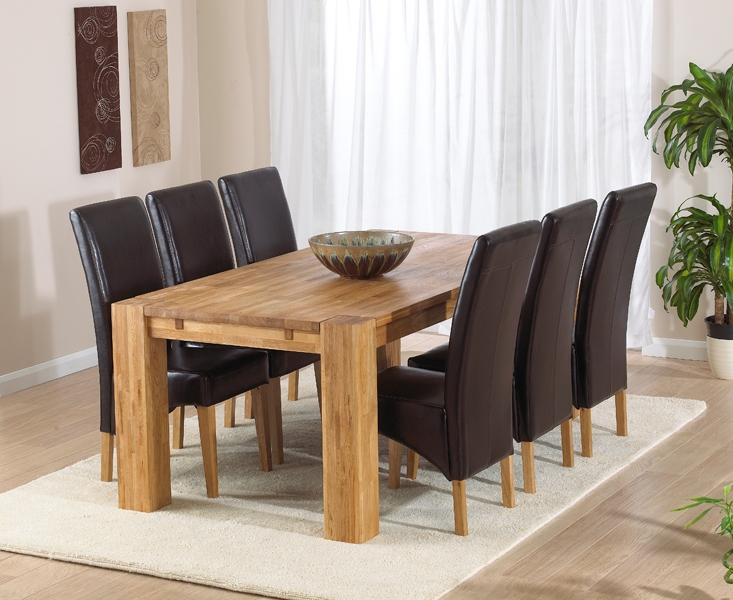 Mark Harris Madrid Solid Oak 200cm Dining Set with 6 Roma Brown Dining Chairs