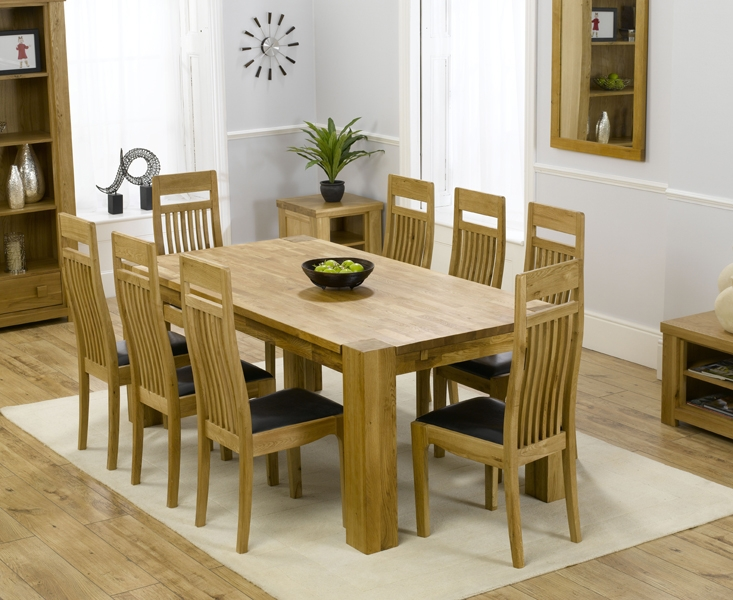 Mark Harris Madrid Solid Oak 200cm Dining Table with 8 Monte Carlo Black Chairs