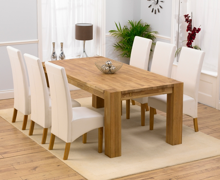 Mark Harris Madrid Solid Oak 200cm Extending Dining Table with 6 Venice Ivory Chairs