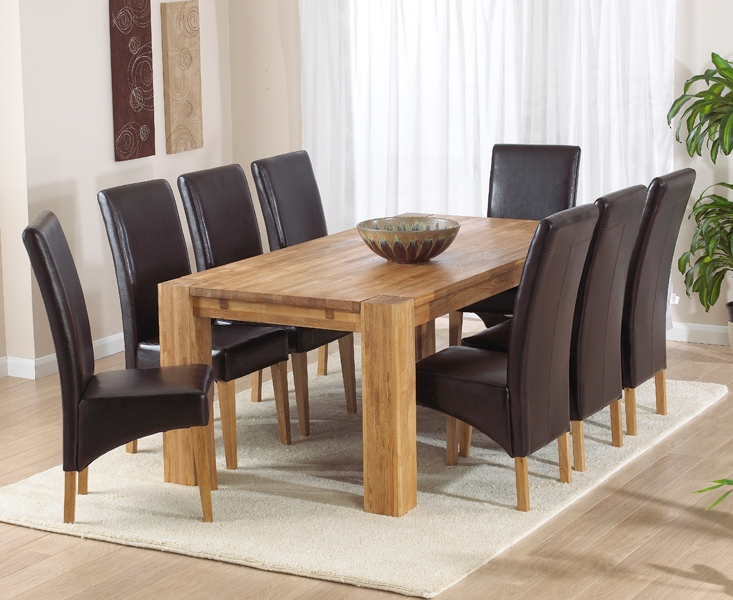 Mark Harris Madrid Solid Oak 200cm Extending Dining Set with 8 Roma Brown Dining Chairs