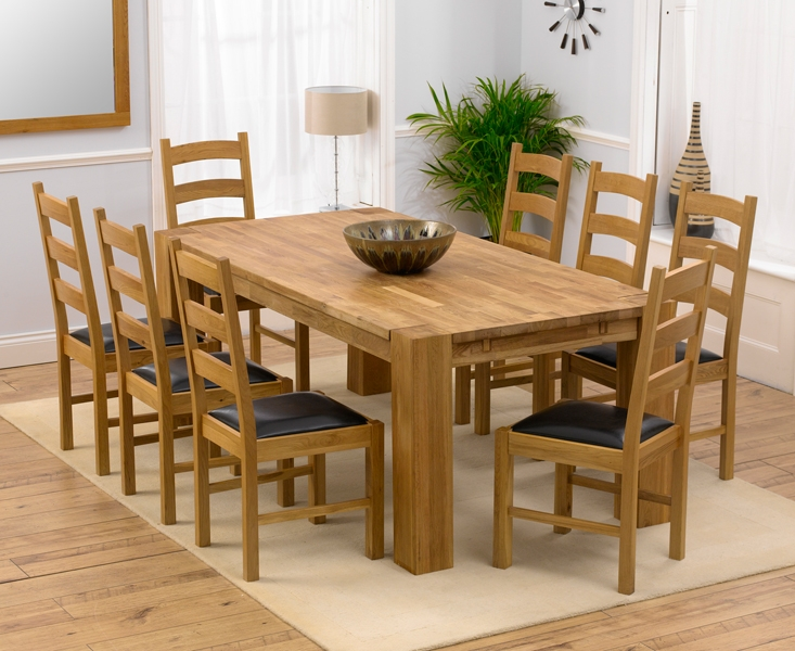 Mark Harris Madrid Solid Oak 200cm Extending Dining Table with 8 Valencia Brown Chairs