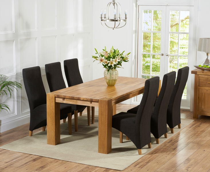 Mark Harris Madrid Solid Oak 240cm Dining Table with 6 Harley Charcoal Chairs