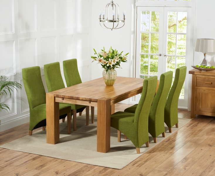 Mark Harris Madrid Solid Oak 240cm Dining Table with 6 Harley Lime Chairs