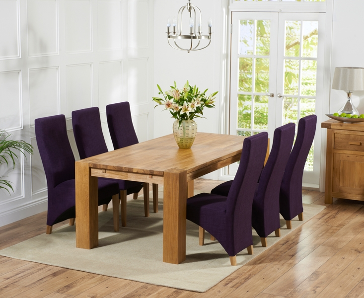 Mark Harris Madrid Solid Oak 240cm Dining Table with 6 Harley Plum Chairs