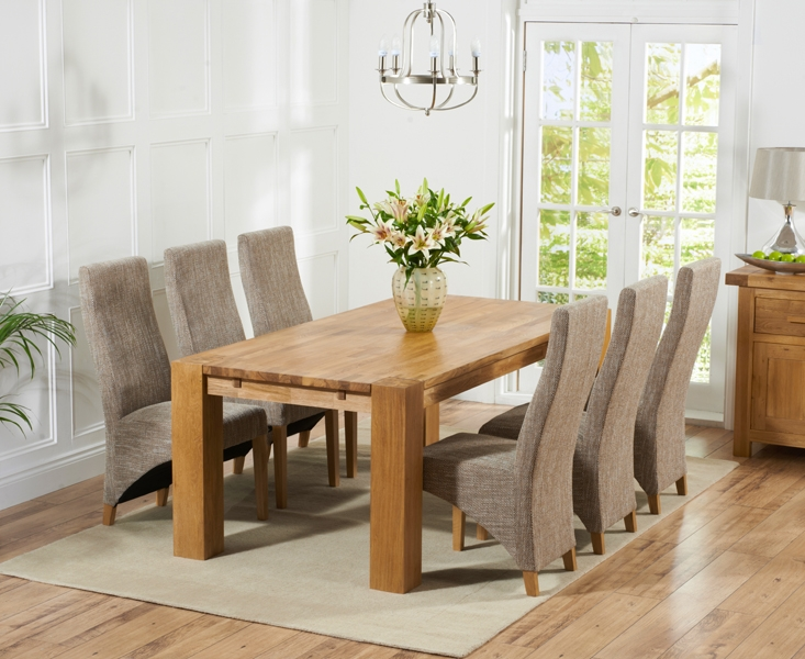 Mark Harris Madrid Solid Oak 240cm Dining Table with 6 Harley Tweed Chairs