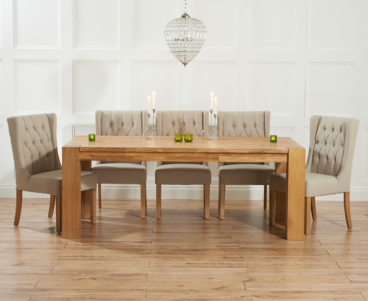 Mark Harris Madrid Solid Oak 240cm Dining Table with 6 Stefini Beige Chairs