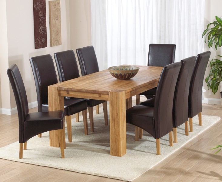 Mark Harris Madrid Solid Oak 240cm Dining Table with 8 Roma Brown Chairs