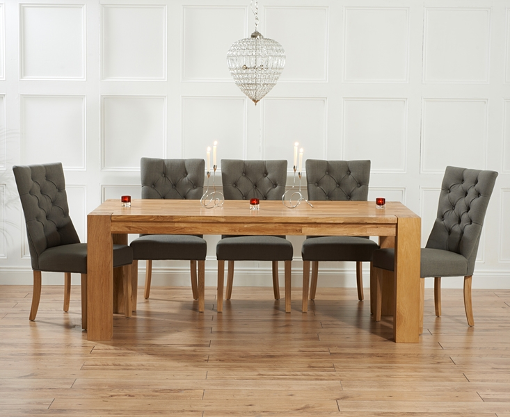Mark Harris Madrid Solid Oak 300cm Dining Table with 6 Albury Grey Chairs