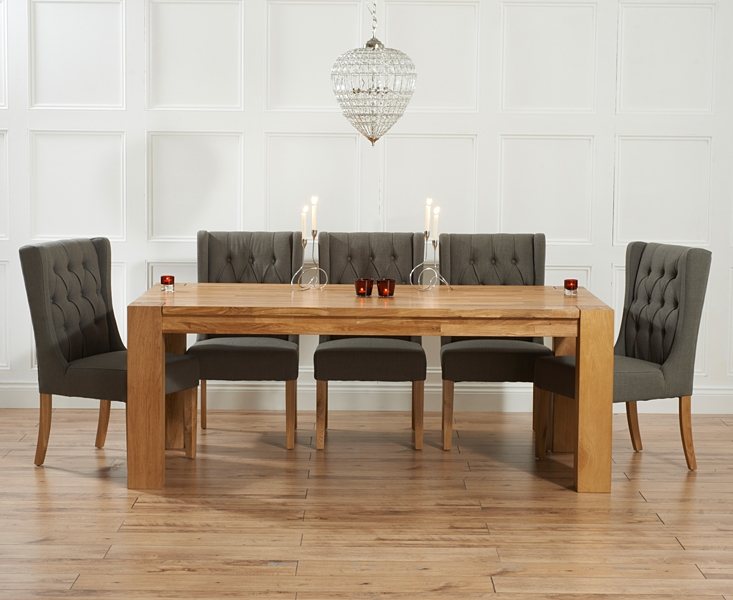 Buy mark harris madrid solid oak 300cm dining set with 6 for Furniture madrid