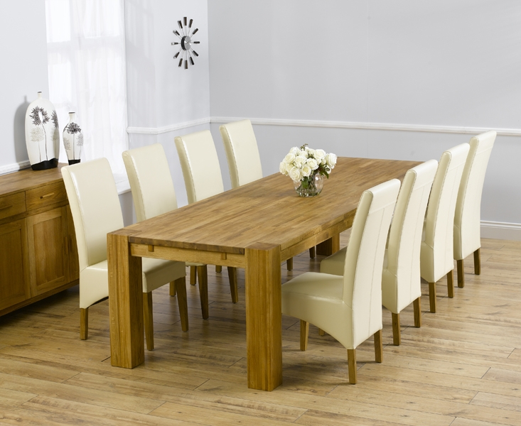 Mark Harris Madrid Solid Oak 300cm Dining Set with 8 Roma Cream Dining Chairs