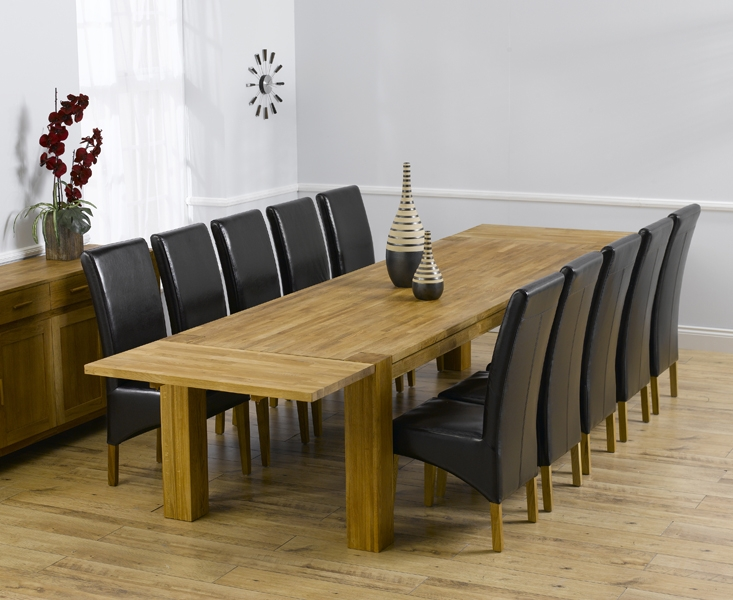 Mark Harris Madrid Solid Oak 300cm Extending Dining Table with 10 Roma Brown Chairs