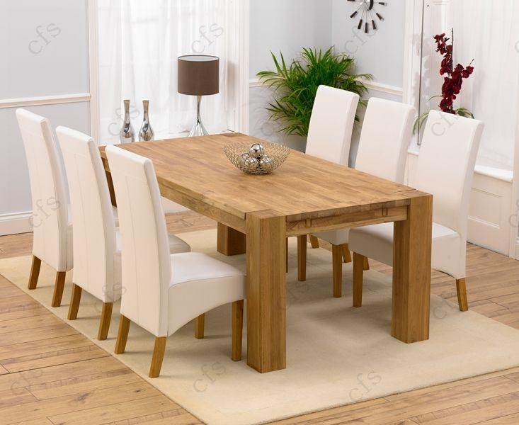 Mark Harris Madrid Solid Oak Dining Set - 200cm Rectangular Extending with 4 Venice Ivory Chairs