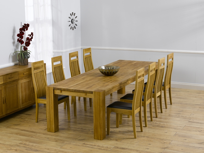 Mark Harris Madrid Solid Oak Dining Set - 300cm Extending with 6 Monte Carlo Brown Chairs