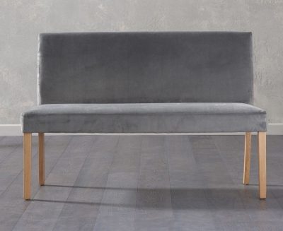 Mark Harris Maiya Grey Plush Fabric Large Bench with Back