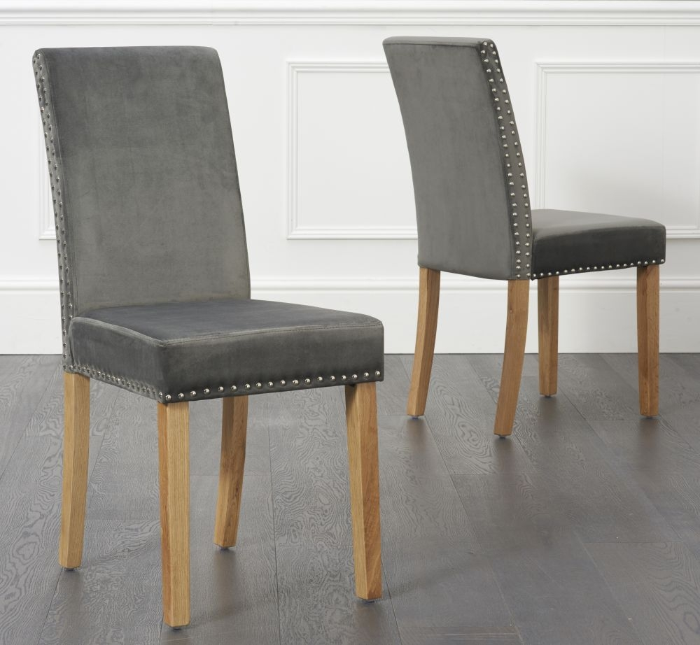 Mark Harris Maiya Grey Plush Studded Dining Chairs (Pair)