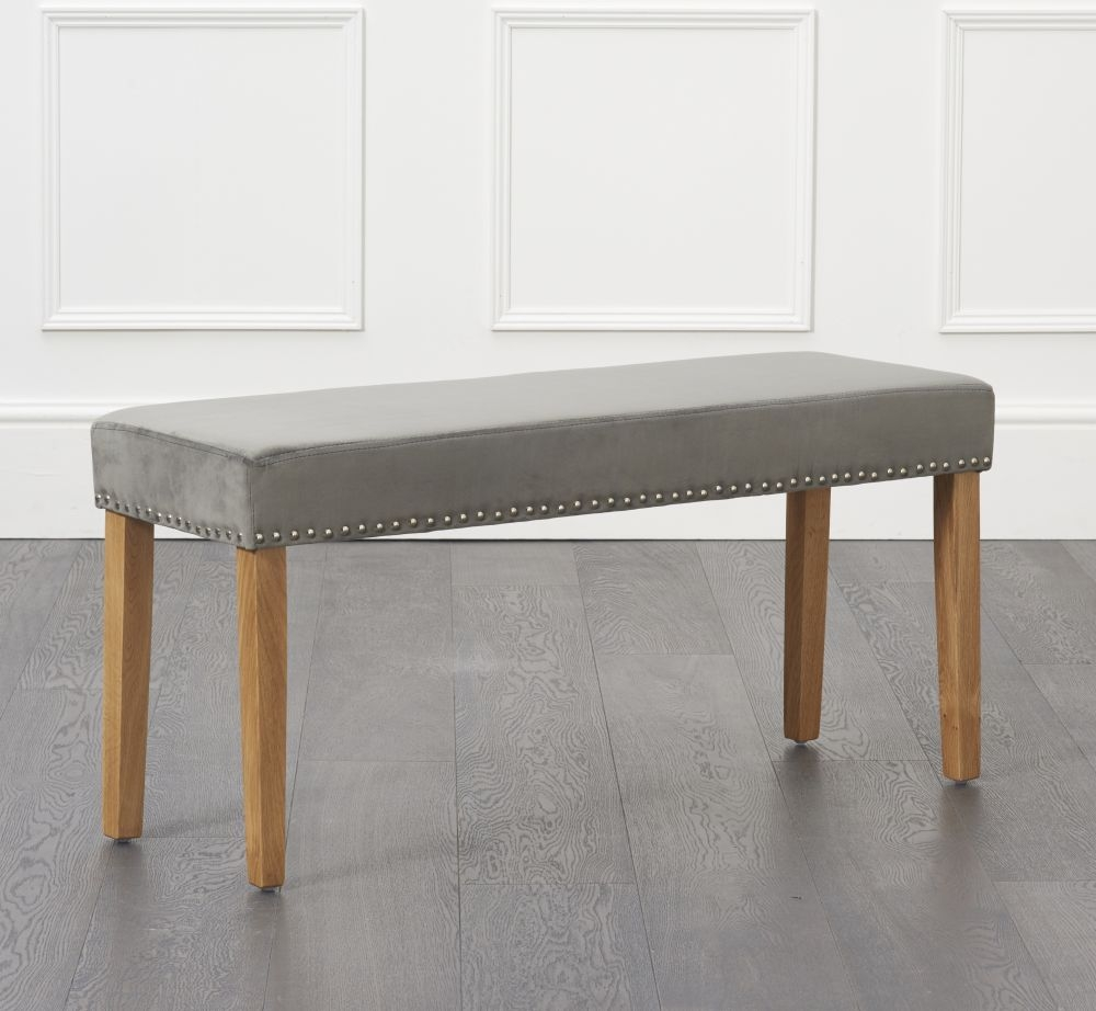 Mark Harris Maiya Small Grey Plush Studded Bench