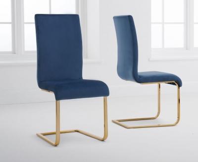 Mark Harris Malibu Blue Velvet Dining Chair (Pair)