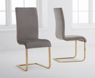 Mark Harris Malibu Grey Velvet Dining Chair (Pair)