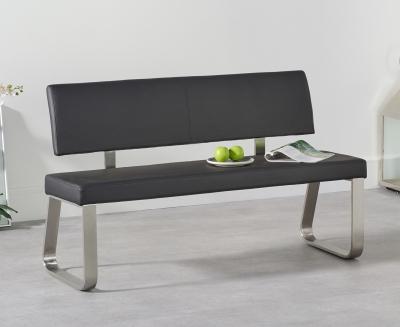 Mark Harris Malibu Black Faux Leather Medium Bench with Back