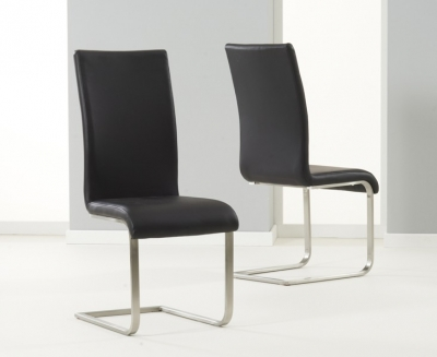 Mark Harris Malibu Black Faux Leather Dining Chair (Pair)