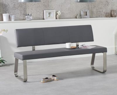 Mark Harris Malibu Grey Faux Leather Large Bench with Back