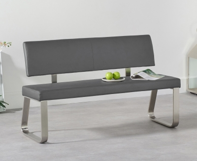 Mark Harris Malibu Grey Faux Leather Medium Bench with Back