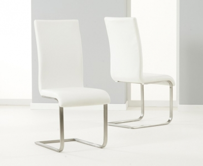 Mark Harris Malibu White Faux Leather Dining Chair (Pair)