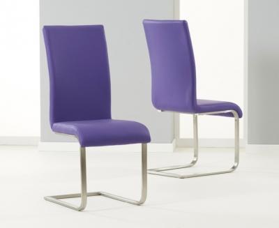 Mark Harris Malibu Purple Faux Leather Dining Chair (Pair)