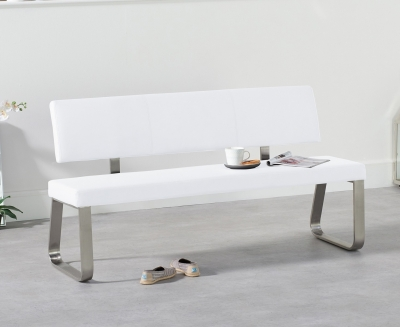 Mark Harris Malibu White Faux Leather Large Bench with Back