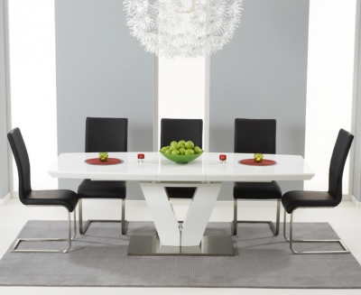 Mark Harris Malibu White High Gloss Butterfly Extending Dining Table and 6 Black Chairs