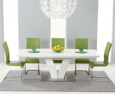 Mark Harris Malibu White High Gloss Extending Dining Set with 6 Green Chairs