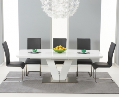 Mark Harris Malibu White High Gloss Extending Dining Set with 6 Grey Dining Chairs