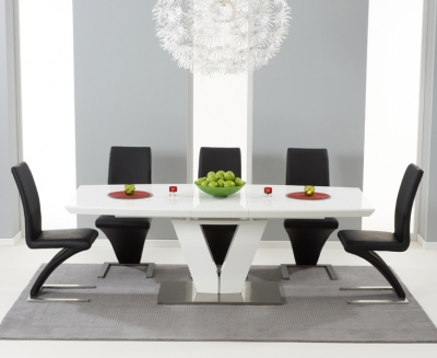 Mark Harris Malibu White High Gloss Extending Dining Set with 6 Hereford Black Dining Chairs