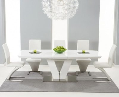Mark Harris Malibu White High Gloss Extending Dining Set with 6 Hereford White Dining Chairs