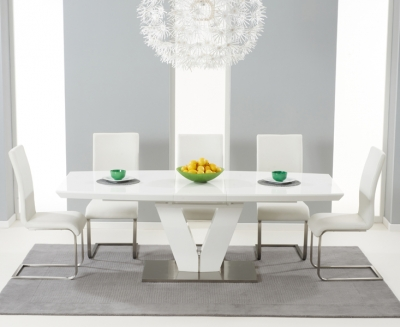 Mark Harris Malibu White High Gloss Extending Dining Set with 6 Ivory Dining Chairs