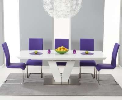 Mark Harris Malibu White High Gloss Extending Dining Set with 6 Purple Dining Chairs