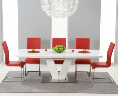 Mark Harris Malibu White High Gloss Extending Dining Set with 6 Red Dining Chairs