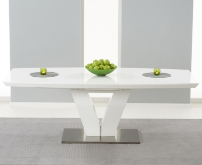 Mark Harris Malibu White High Gloss Extending Dining Table