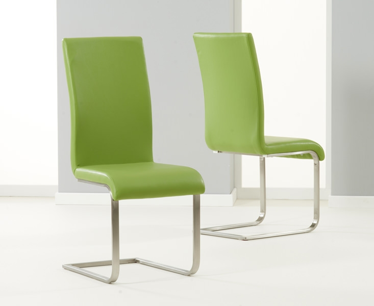 Mark Harris Malibu Green Faux Leather Dining Chair (Pair)