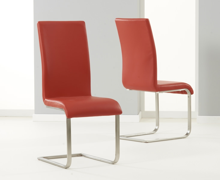 Mark Harris Malibu Red Faux Leather Dining Chair (Pair)