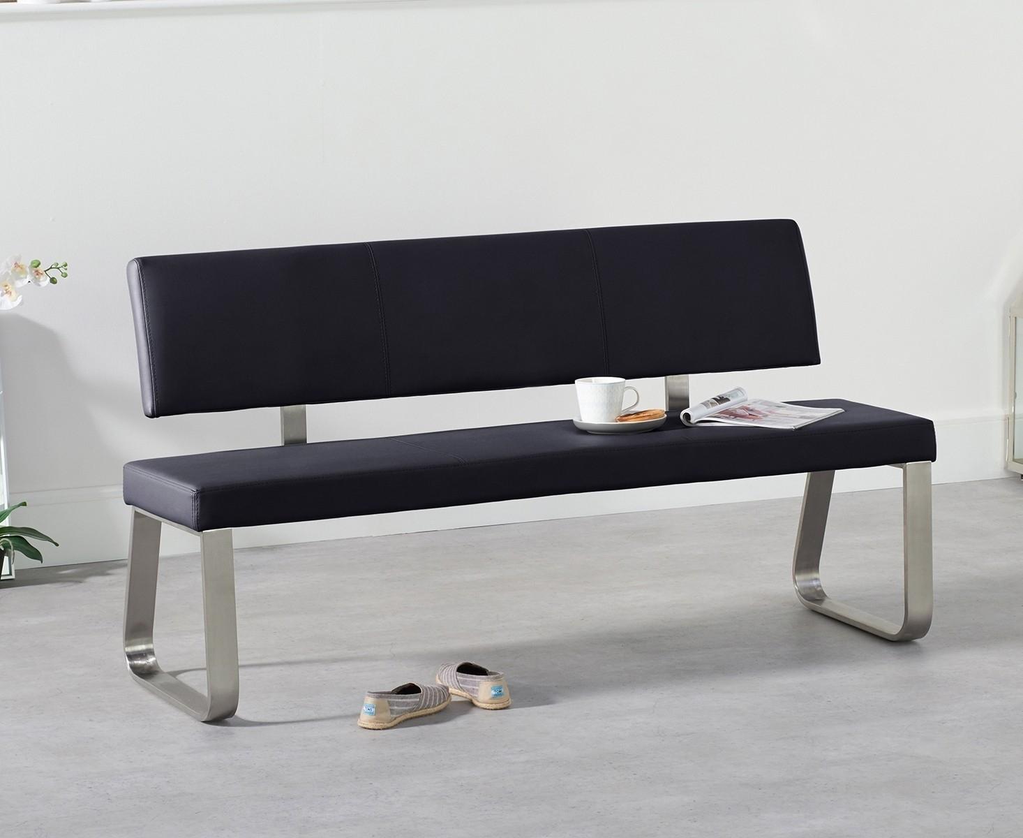Mark Harris Malibu Black Faux Leather Large Bench with Back