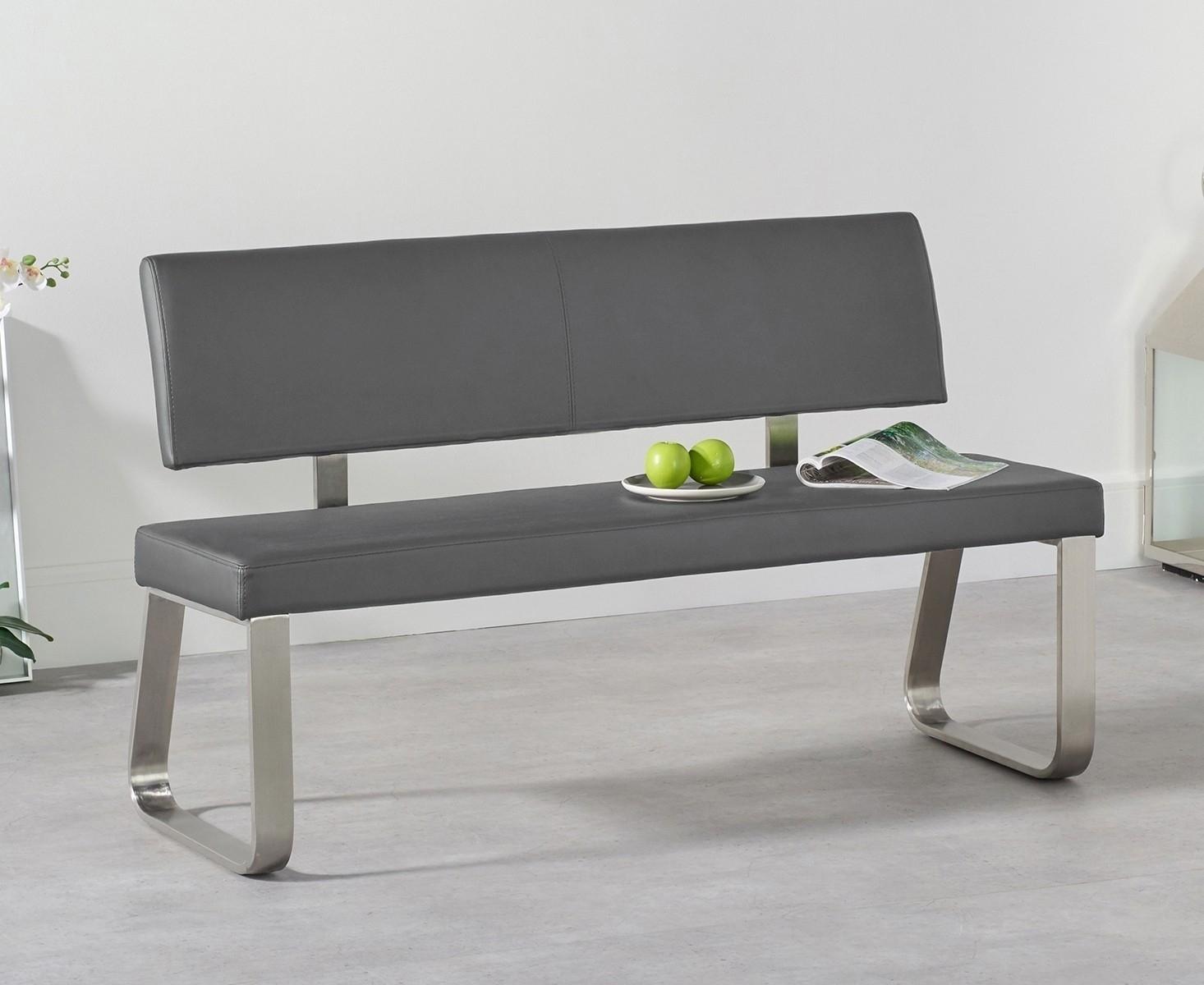 Mark Harris Malibu Grey Faux Leather Medium Bench with Back