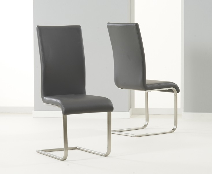 Mark Harris Malibu Grey Faux Leather Dining Chair (Pair)