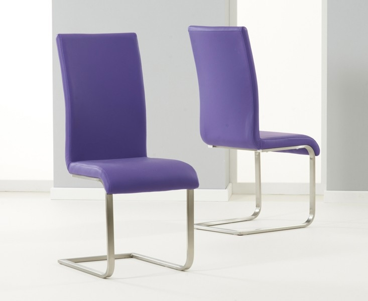 Mark Harris Malibu Purple Faux Leather Dining Chair (Pair)