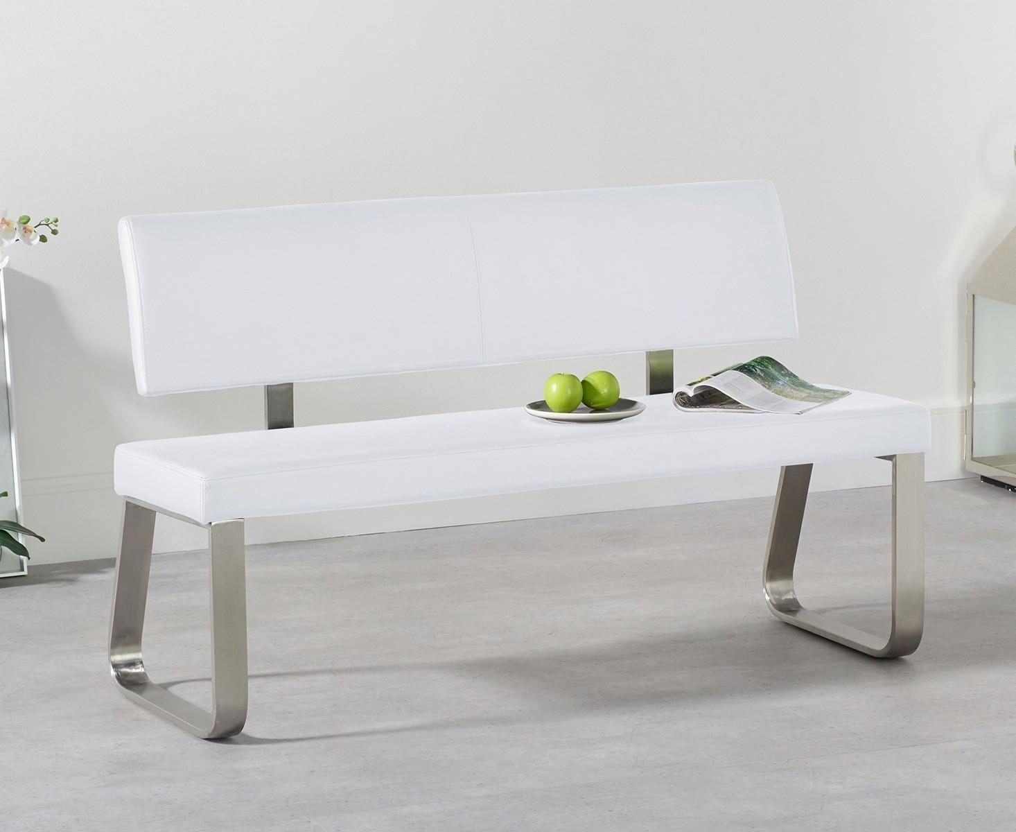 Mark Harris Malibu White Faux Leather Medium Bench with Back