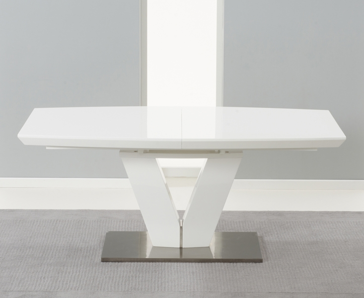 Mark Harris Malibu White High Gloss Butterfly Extending Dining Table