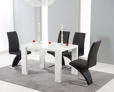 Mark Harris Malpensa White High Gloss Large Dining Table and 4 Hereford Black Chairs
